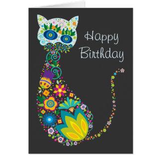 Feliz cumpleaños del gato floral colorido tarjeta