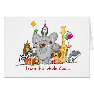 Feliz cumpleaños del grupo - animales lindos del tarjeta de felicitación