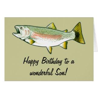 Feliz cumpleaños del hijo: Trucha arco iris Tarjeta De Felicitación