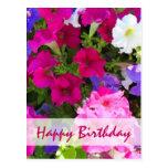 feliz cumpleaños del jardín de flores tarjeta postal