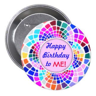 Feliz cumpleaños del mosaico colorido a mí Pin