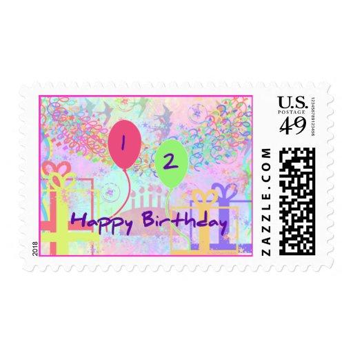 Feliz cumpleaños del niño dos años sellos