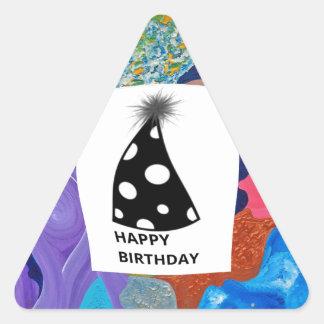 Feliz cumpleaños del oído pegatina triangular