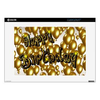 Feliz cumpleaños del oro calcomanía para portátil