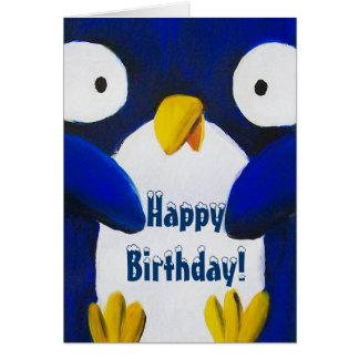 feliz cumpleaños del pingüino lindo tarjeta de felicitación