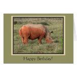 Feliz cumpleaños del rinoceronte fangoso felicitacion