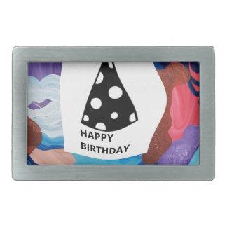 Feliz cumpleaños del torbellino hebilla de cinturón rectangular