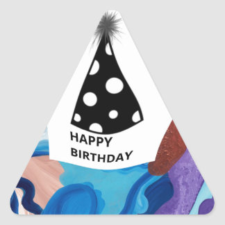 Feliz cumpleaños del torbellino pegatina triangular