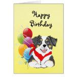 Feliz cumpleaños del tri perrito australiano negro tarjeton
