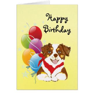 Feliz cumpleaños del tri perrito australiano rojo tarjeta