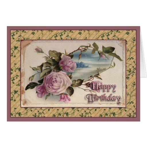 Feliz cumpleaños del vintage tarjeta de felicitación