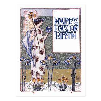 Feliz cumpleaños del vintage tarjeta postal