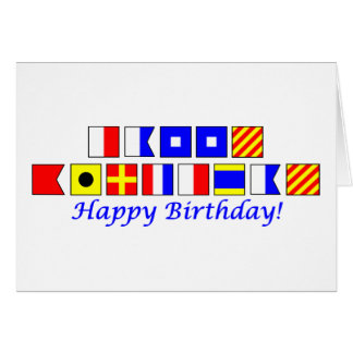 Feliz cumpleaños deletreado en alfabeto náutico de felicitaciones