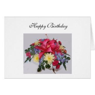 Feliz cumpleaños - día rosado Lillies Tarjeta De Felicitación