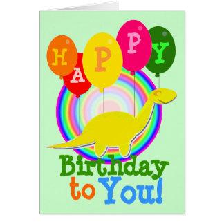 Feliz cumpleaños dinosaurio amarillo del dibujo an tarjeta