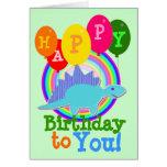 Feliz cumpleaños dinosaurio azul del dibujo animad tarjetón