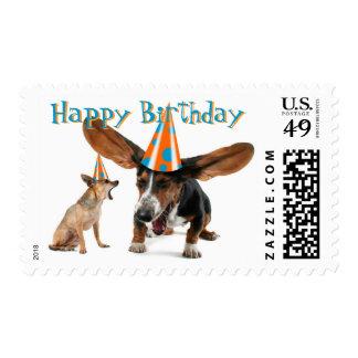 Feliz cumpleaños divertido sellos postales