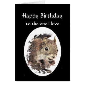 Feliz cumpleaños divertido, una ardilla del amor tarjeta de felicitación