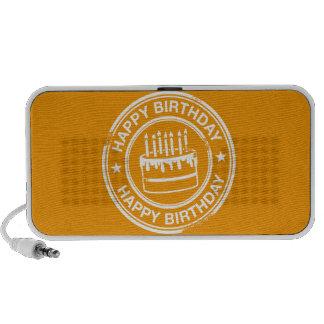 Feliz cumpleaños - efecto blanco del sello de goma laptop altavoces