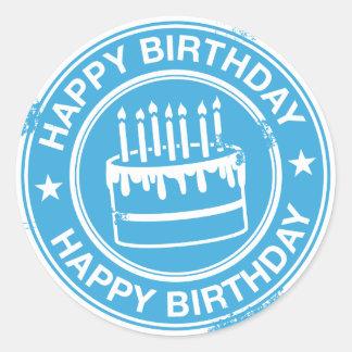 Feliz cumpleaños - efecto blanco del sello de goma pegatina redonda