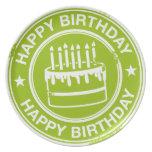 Feliz cumpleaños - efecto blanco del sello de goma platos de comidas
