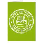 Feliz cumpleaños - efecto blanco del sello de goma tarjetas