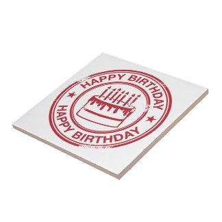 Feliz cumpleaños - efecto rojo del sello de goma azulejo cuadrado pequeño