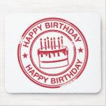 Feliz cumpleaños - efecto rojo del sello de goma alfombrillas de raton