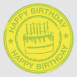 Feliz cumpleaños - efecto verde del sello de goma pegatina redonda