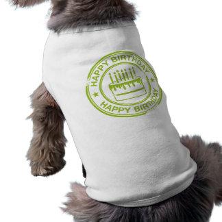 Feliz cumpleaños - efecto verde del sello de goma ropa de mascota