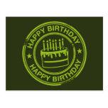 Feliz cumpleaños - efecto verde del sello de goma postal