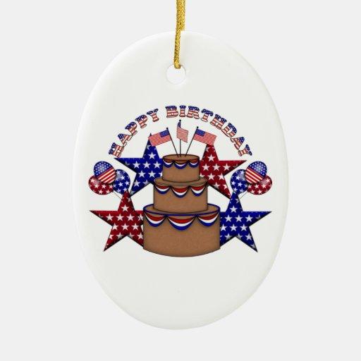 Feliz cumpleaños el 4 de julio adorno navideño ovalado de cerámica