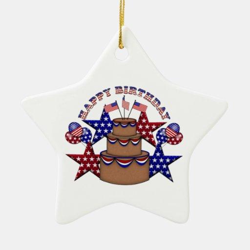 Feliz cumpleaños el 4 de julio adorno de cerámica en forma de estrella