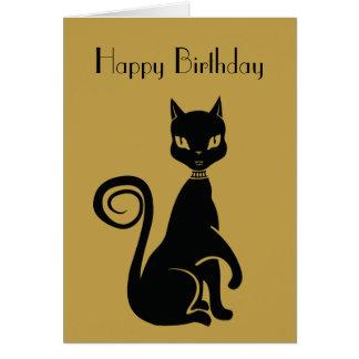 Feliz cumpleaños elegante del gato negro tarjeta de felicitación