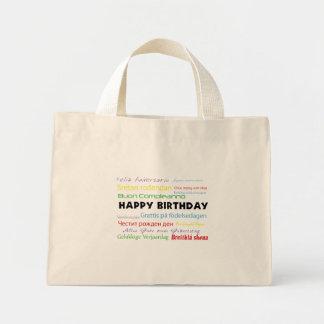 Feliz cumpleaños en bolso reutilizable de muchas i bolsa de mano