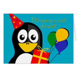 Feliz cumpleaños en pingüino islandés, lindo tarjeta de felicitación