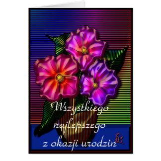 Feliz cumpleaños en polaco tarjeta de felicitación