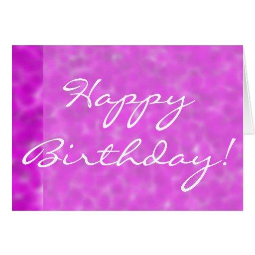 Feliz cumpleaños en tarjeta de felicitación púrpur