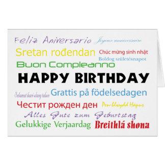 Feliz cumpleaños en tarjeta de muchas idiomas