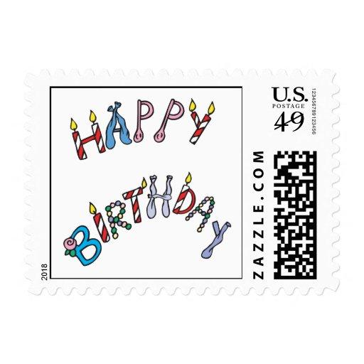 Feliz cumpleaños estampillas