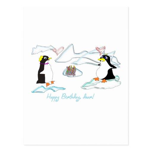 ¡Feliz cumpleaños, estimado! Pinguins lindos, pesc Tarjetas Postales