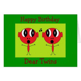 , Feliz cumpleaños, estimado Twins Tarjeta De Felicitación
