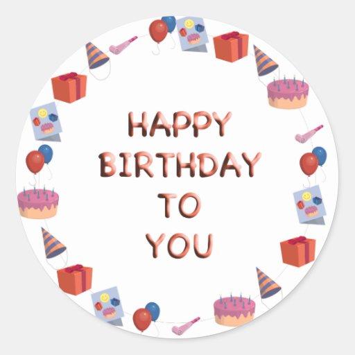 Feliz cumpleaños etiqueta redonda
