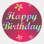 Feliz cumpleaños etiquetas redondas