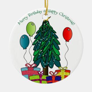 ¡Feliz cumpleaños, felices Navidad! Adorno Navideño Redondo De Cerámica