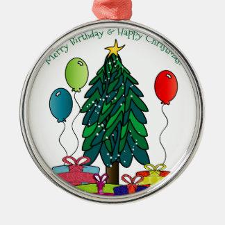 ¡Feliz cumpleaños, felices Navidad! Adorno Redondo Plateado