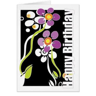 Feliz cumpleaños femenino, flores púrpuras tarjeta de felicitación