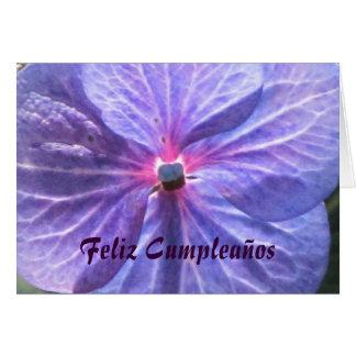 Feliz Cumpleaños - Flor azul-púrpura Card