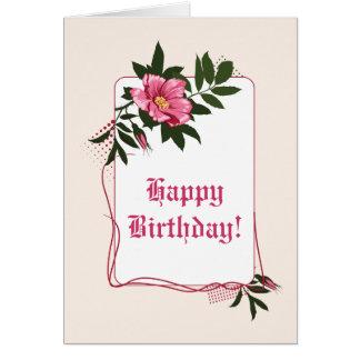 Feliz cumpleaños floral color de rosa, de lino tarjeta de felicitación