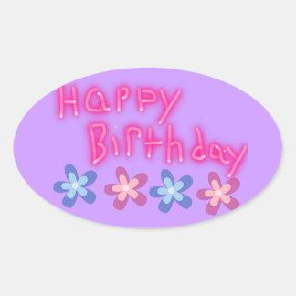 Feliz cumpleaños floral pegatina ovalada